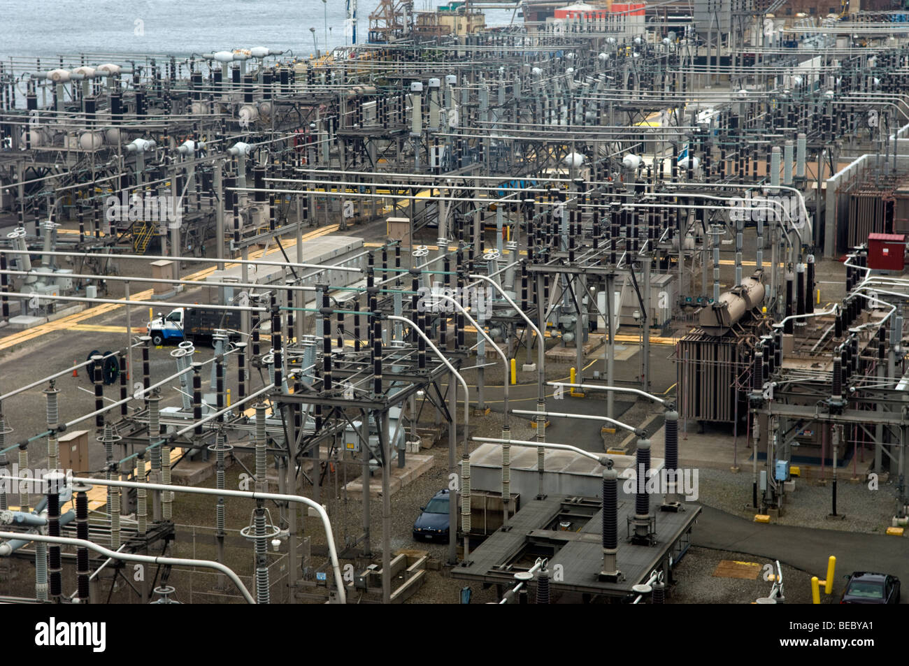 A Con Edison power plant and distribution center in the Brooklyn neighborhood of Dumbo in New York - Stock Image