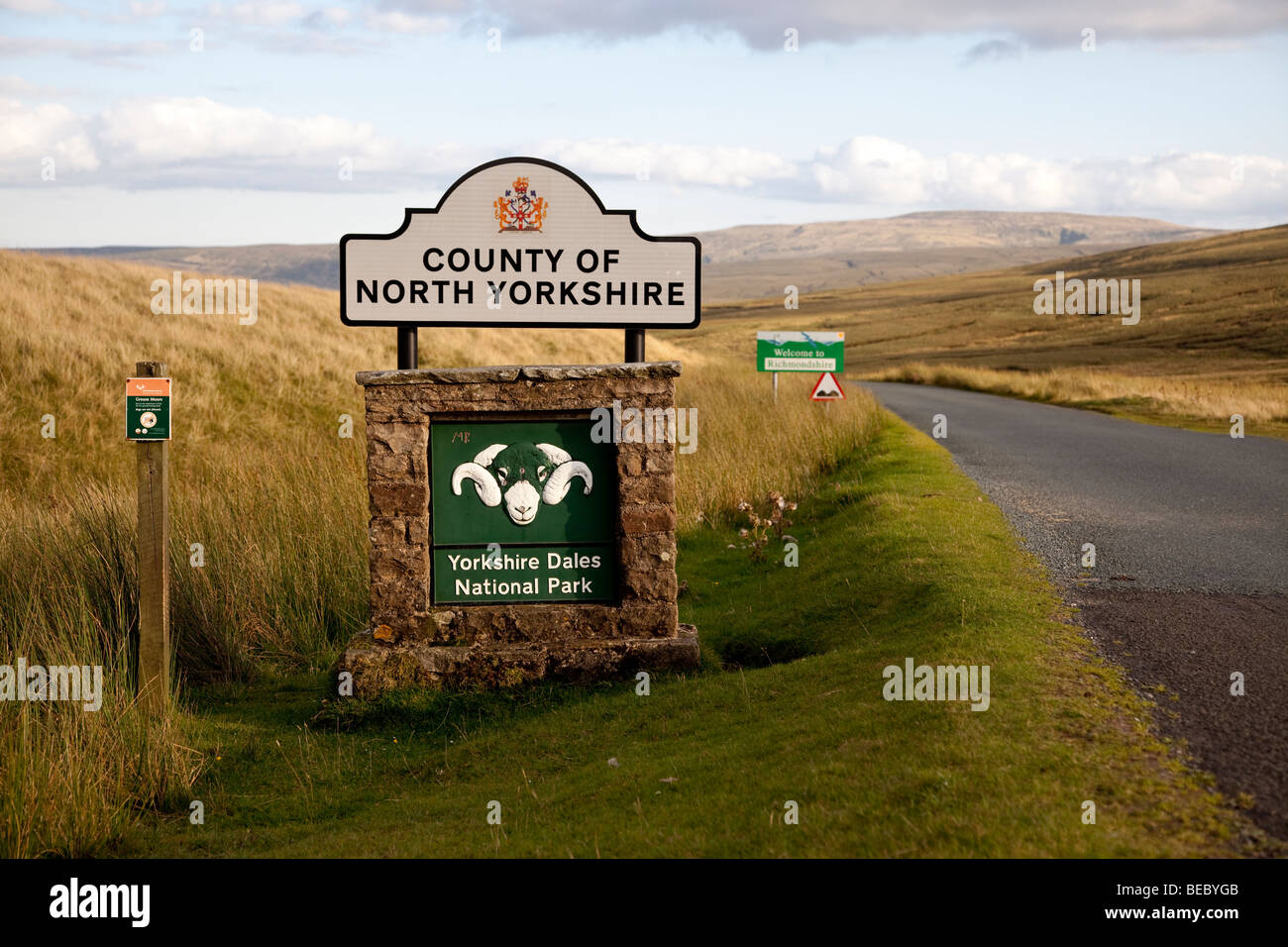 Sign for Yorkshire Dales National Park and North Yorkshire County, UK - Stock Image