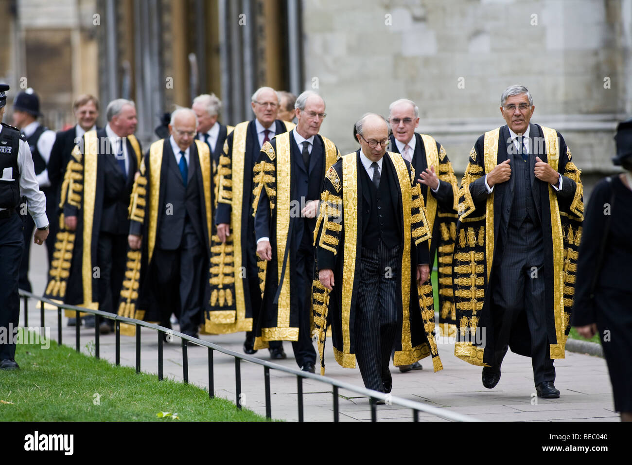 Supreme Court of United Kingdom Justices procession into Westminster Abbey. Front left, Lord Hope, front right, - Stock Image