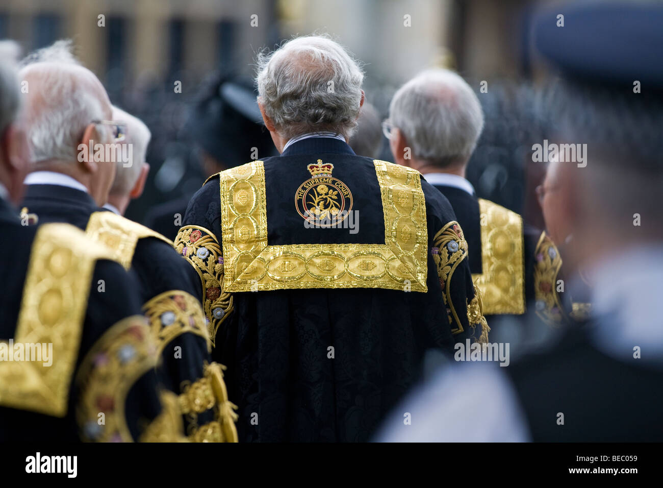 Supreme Court of the United Kingdom Justices procession from Middlesex Guildhall - Stock Image