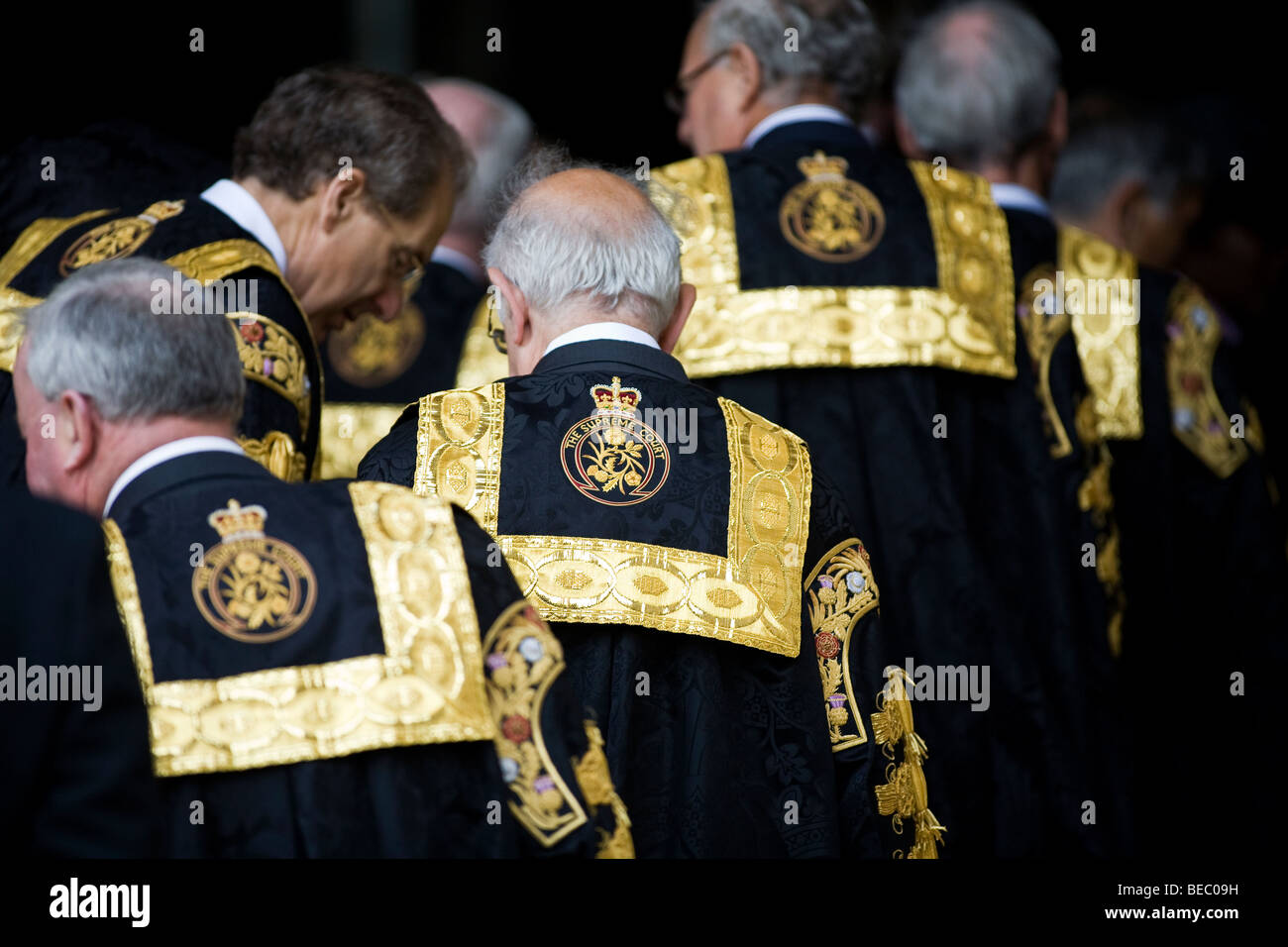 Supreme Court Judges procession into Westminster Abbey - Stock Image