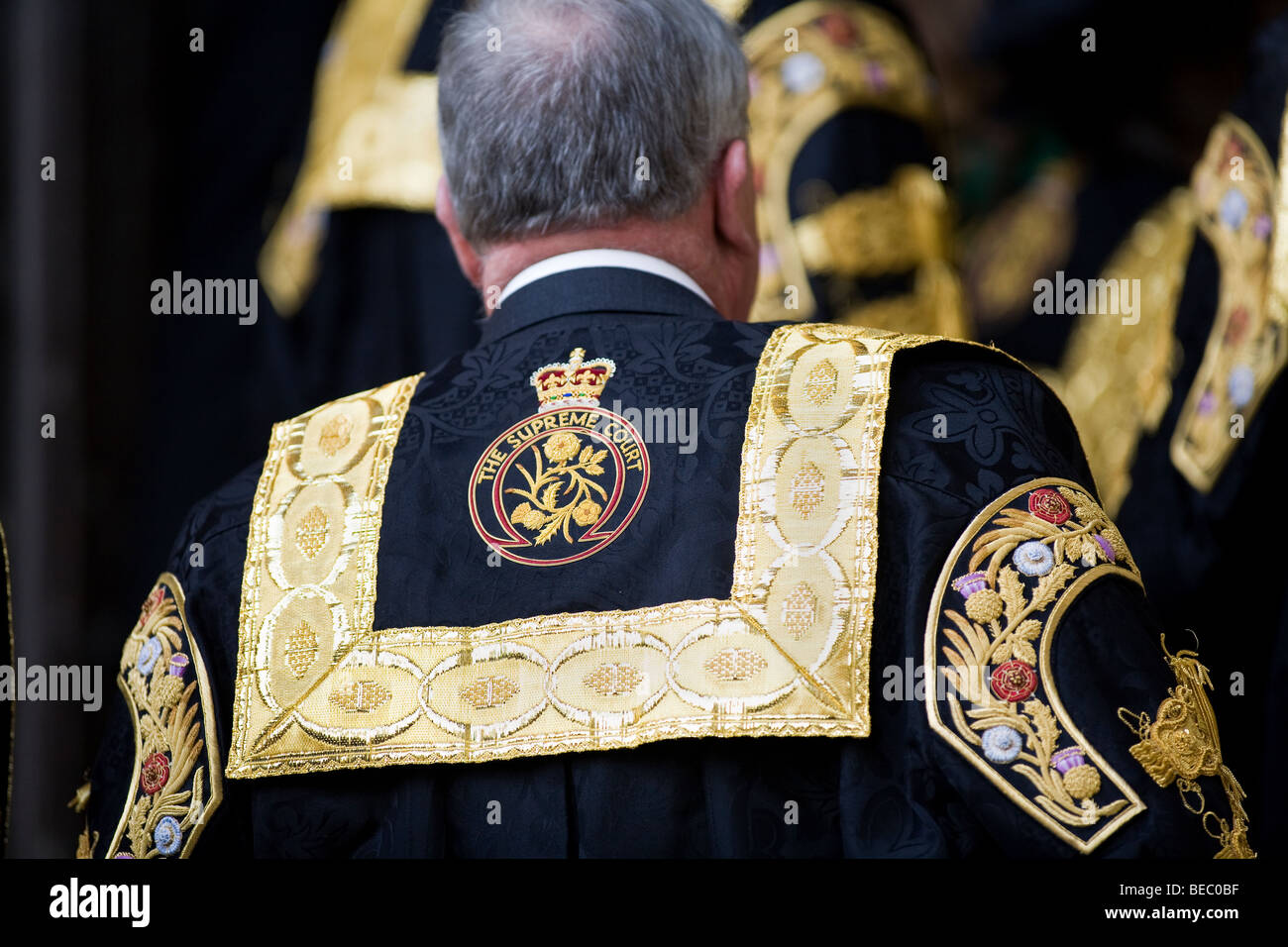 Supreme Court of the United Kingdom Justice robe logo emblem - Stock Image