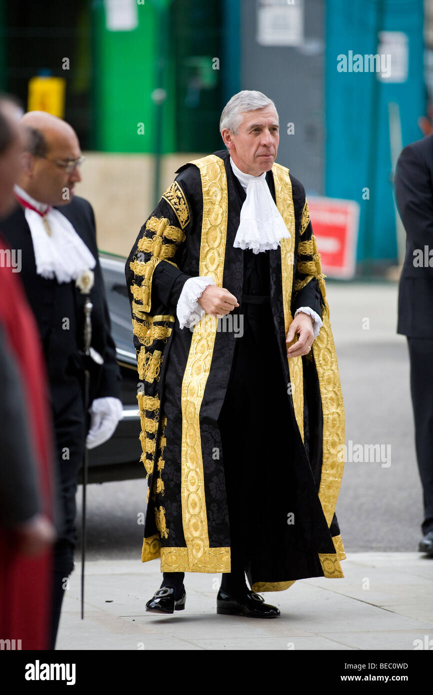 Jack Straw MP, Lord Chancellor and Secretary of State for Justice, wears the robes of office at Westminster Abbey - Stock Image