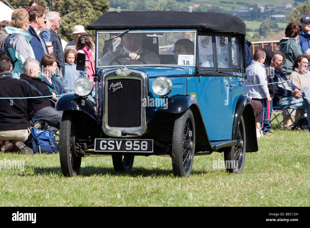 Vintage car display at Wensleydale Agrcultural Show held early September near Leyburn, North Yorkshire - Stock Image