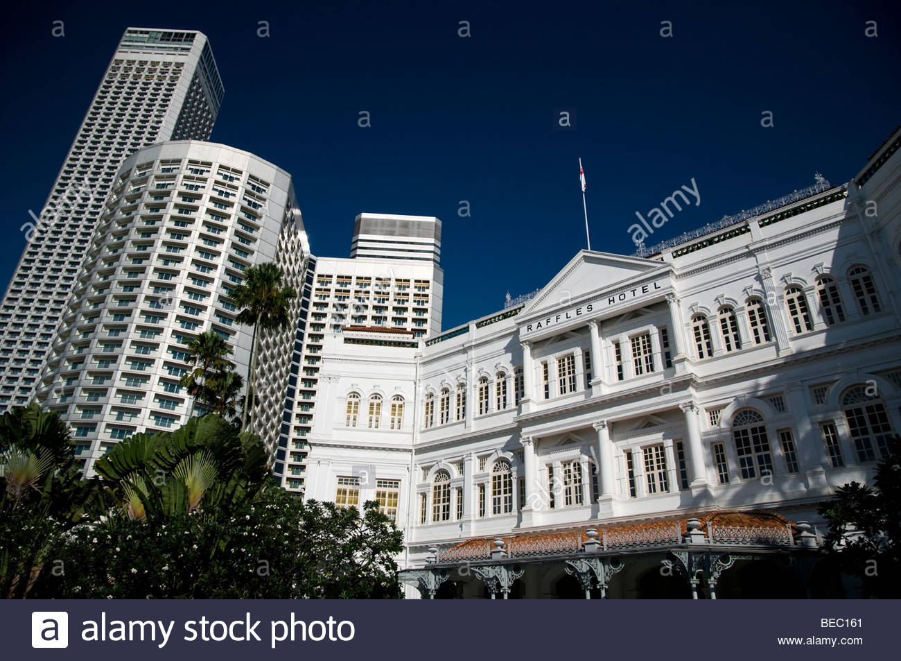 Raffles Hotel, a luxury colonial-style hotel, Singapore - Stock Image