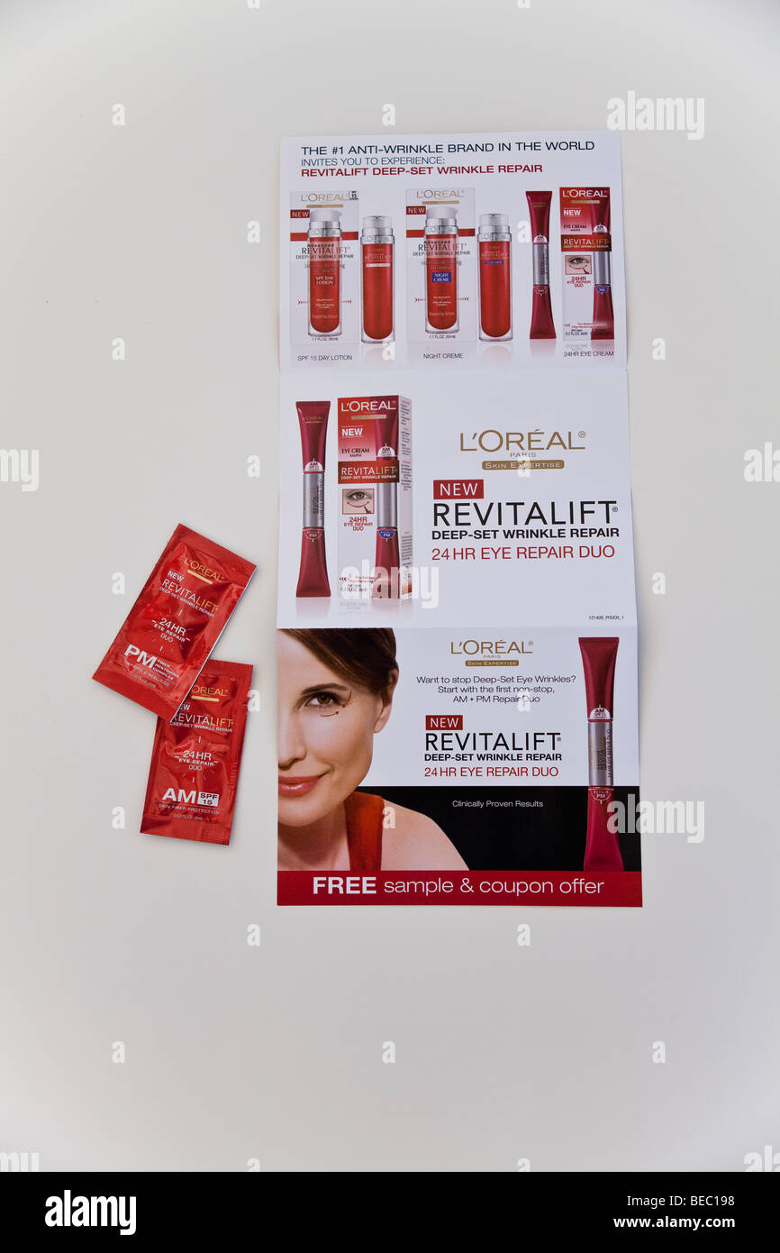 Free sample of Loreal skincare product sent out with Sunday newspaper. - Stock Image