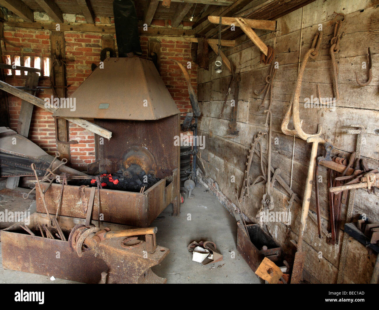 Old blacksmiths forge at Cressing Temple Barns Essex England