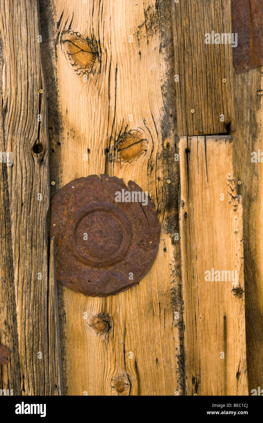 Weathered wood detail, Bodie Ghost Town, Eastern California, USA - Stock Image