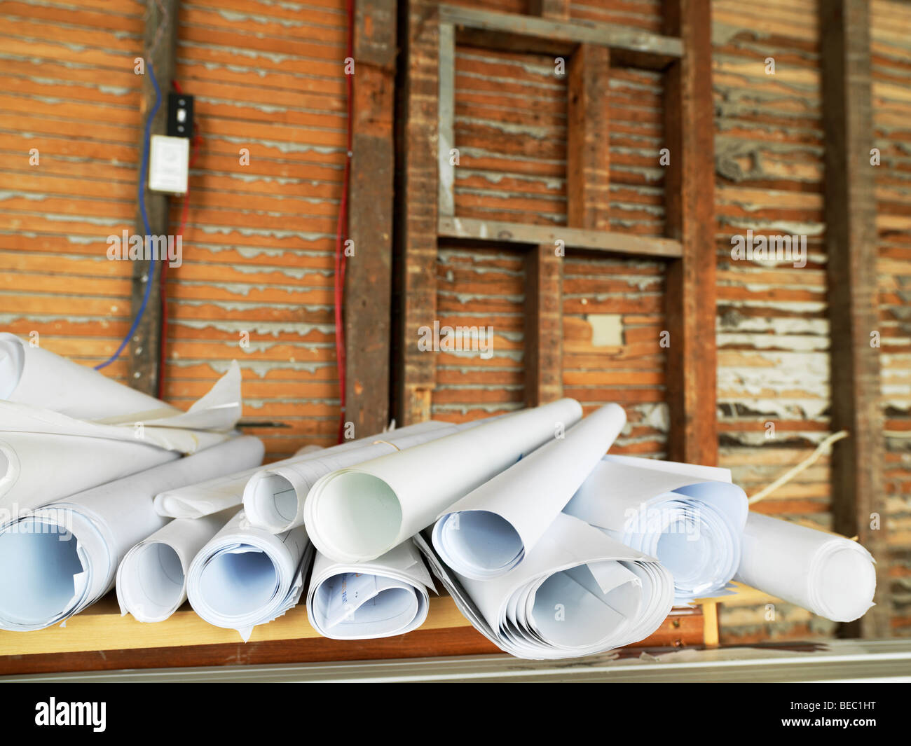 Canada,Ontario,Queenston,Willowbank School of Restoration Arts School, stack of blueprints and old wall - Stock Image