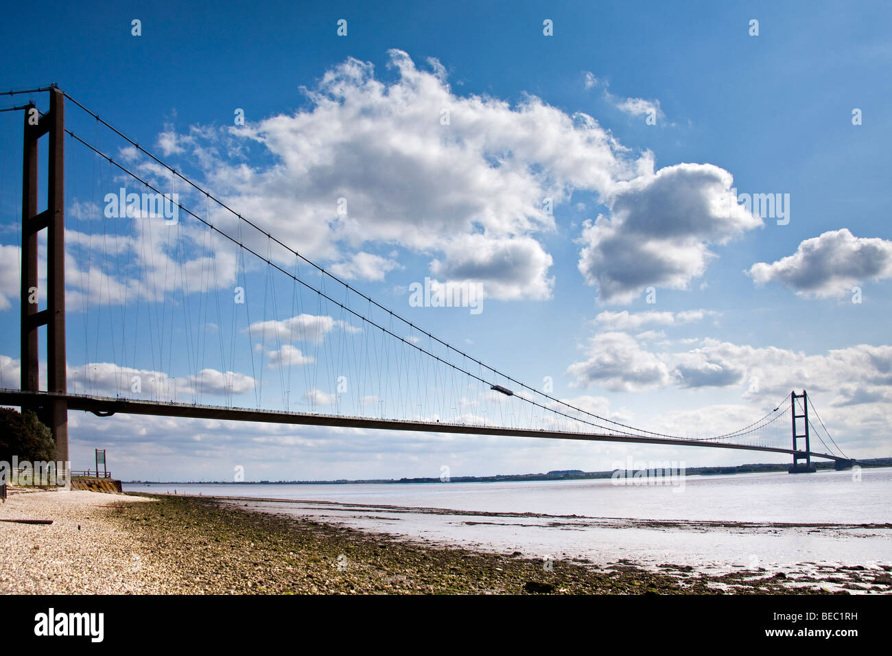 The Humber Bridge from the North shore, Hessle, Yorkshire - Stock Image