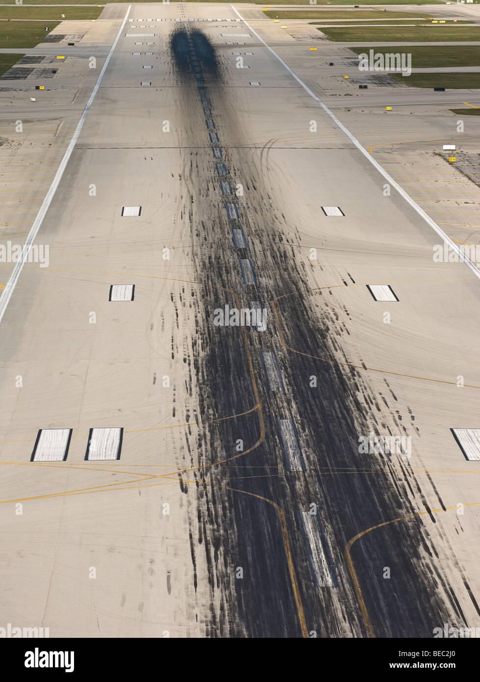 airport runway skid marks Stock Photo