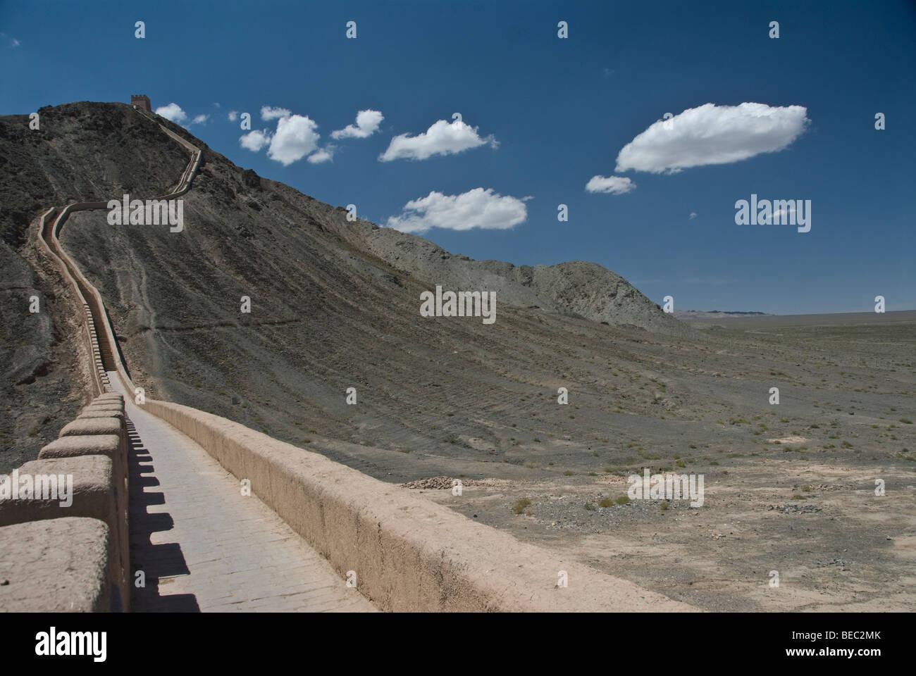 Jiayuguan section of the Great Wall of China. Gansu Province, China 2008. - Stock Image