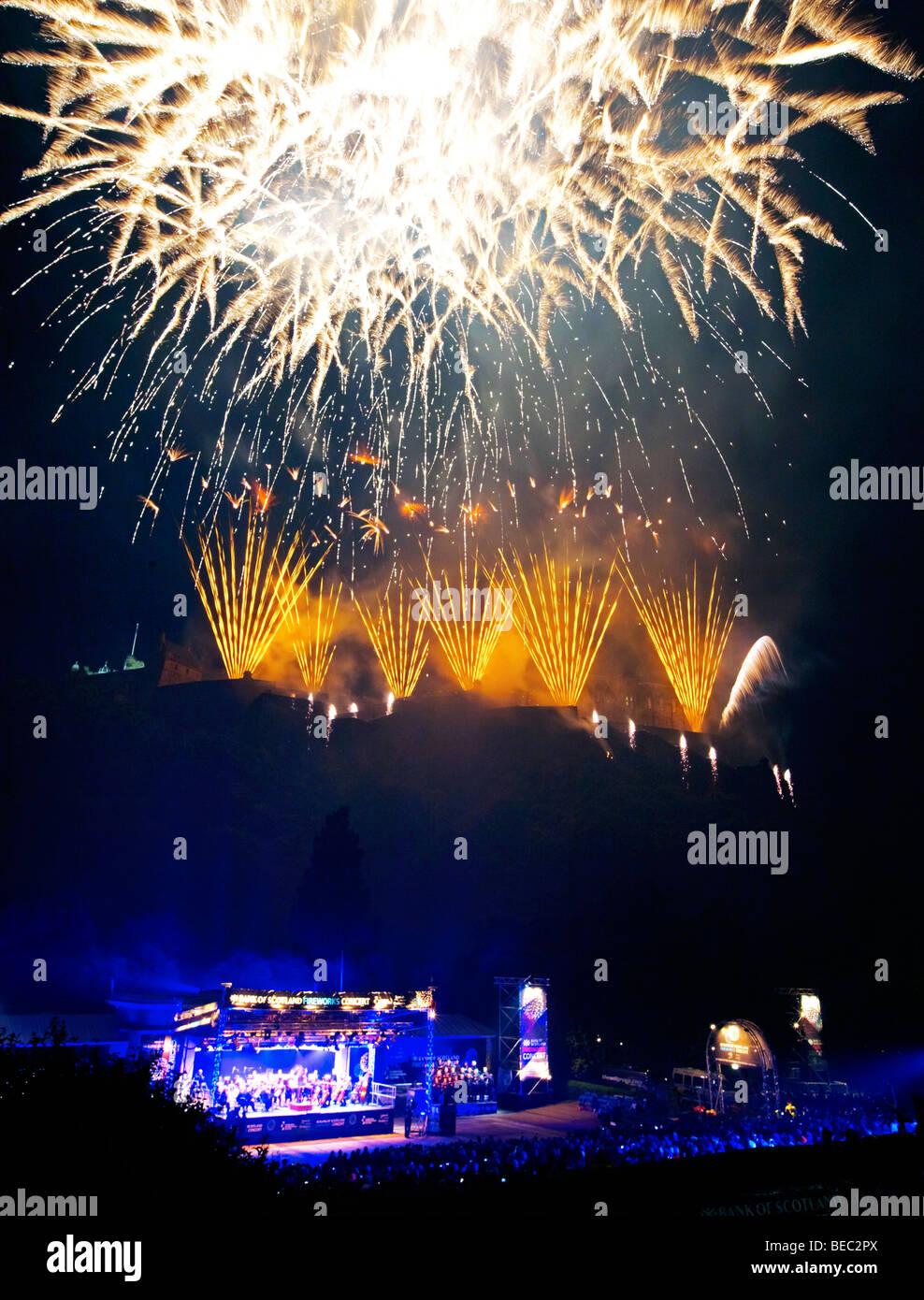 Fireworks at The Closing Ceremony Edinburgh Festival Scotland UK - Stock Image