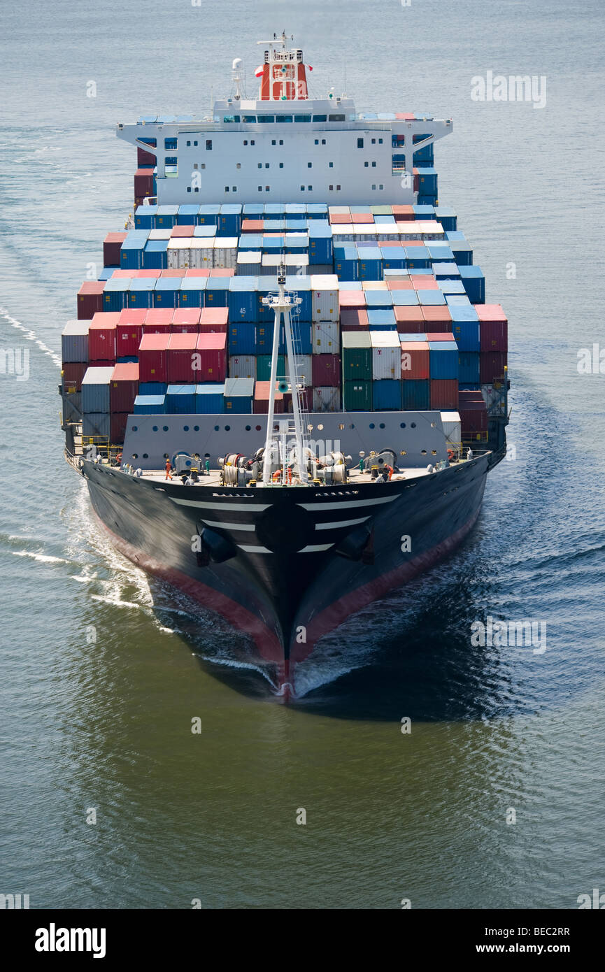 front view of cargo ship - Stock Image