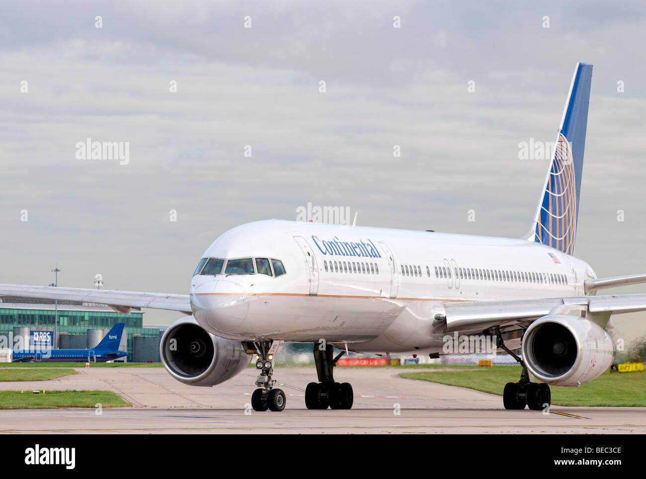 Continental aircraft taxiing for take off from Manchester Airport (Ringway Airport) in Manchester, England - Stock Image