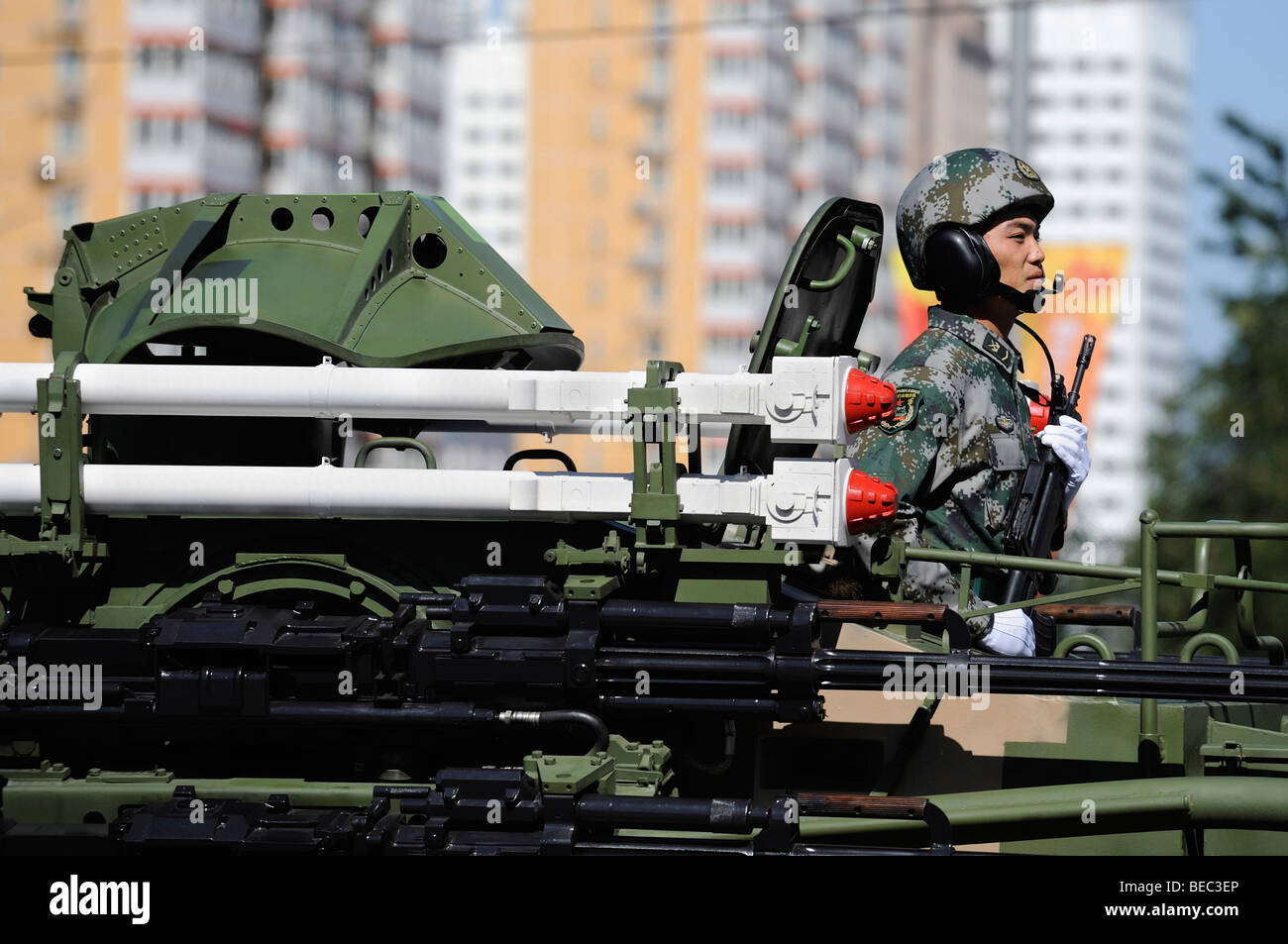 Military parade marking Chinas 60th anniversary of the Peoples Republic of China. 01-Oct-2009 - Stock Image