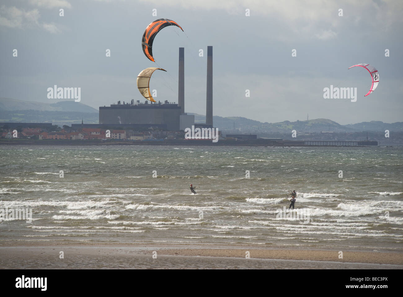 Kite boarding off Cockenzie Power Station, East Lothian, Scotland, September, 2009 - Stock Image