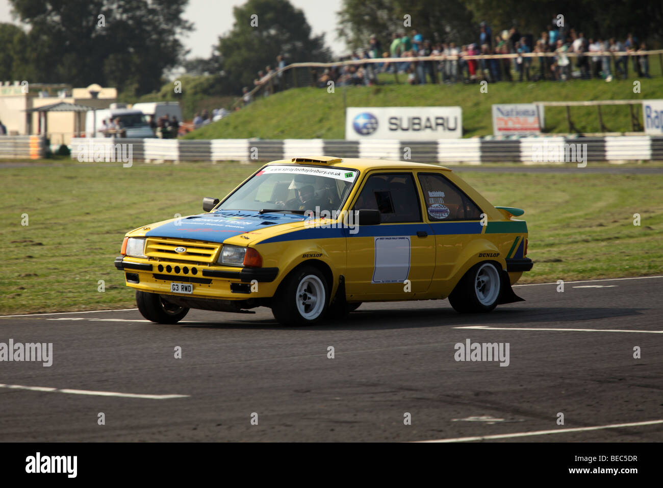 Castle Coombe Rally day 2009 - RWD Ford Escort G3 - Stock Image