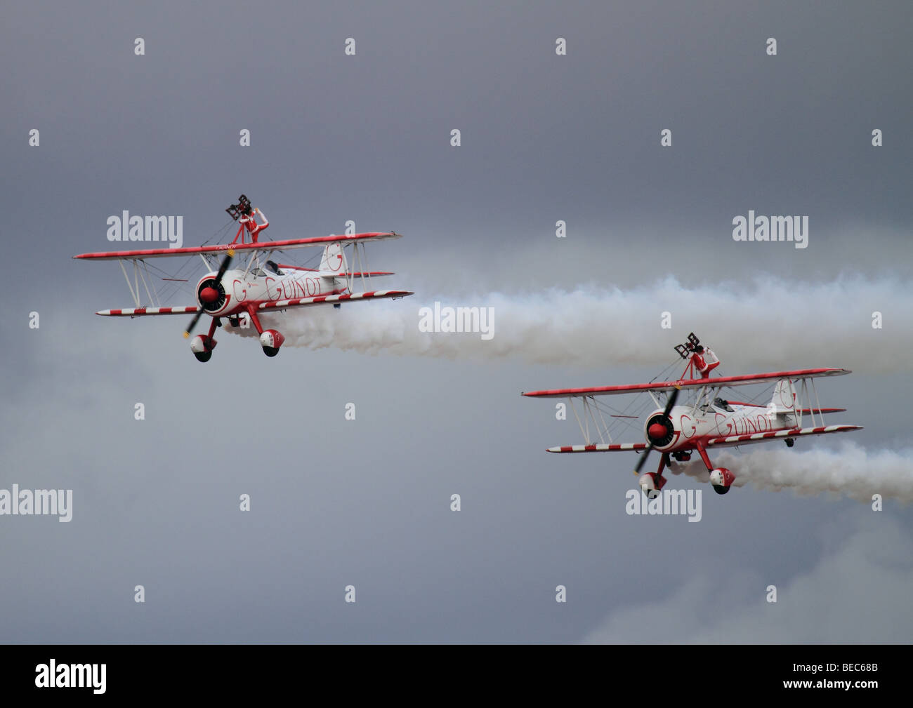 Guinot Wing Walkers at Southport Airshow 2008 - Stock Image