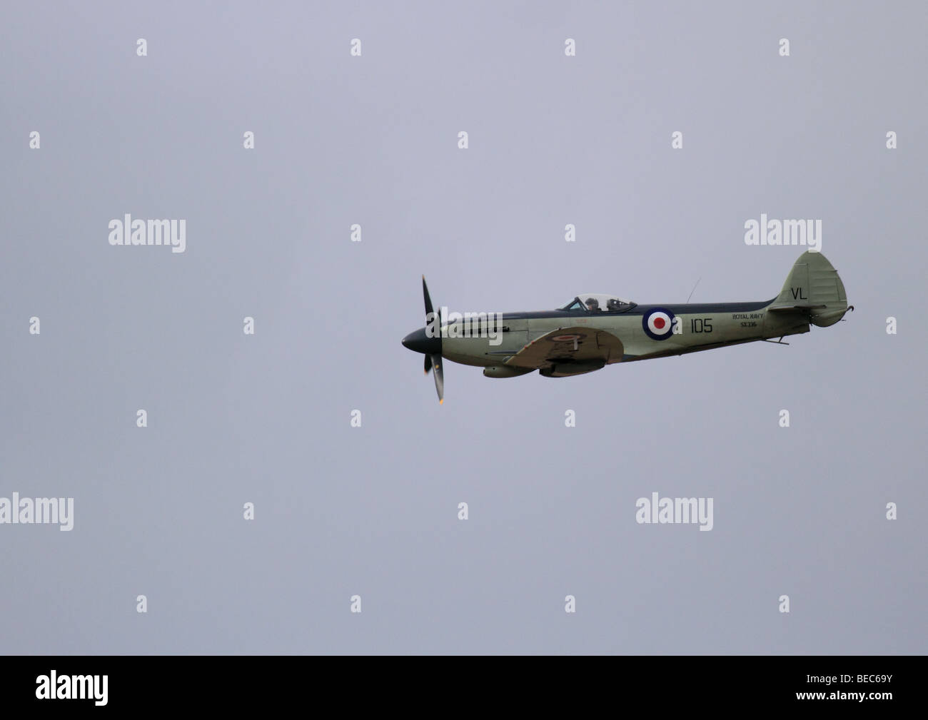 Seafire in flight at Southport Airshow 2009 - Stock Image