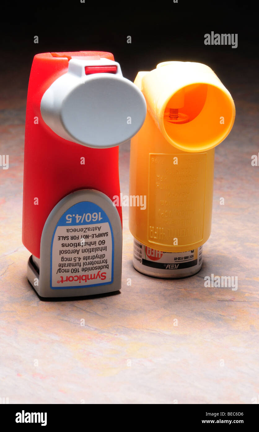 Inhalers, used to deliver medication to alleviate difficulty breathing. - Stock Image