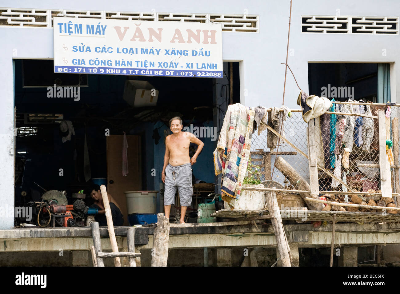 Floating village in the Mekong Delta, Vietnam Stock Photo
