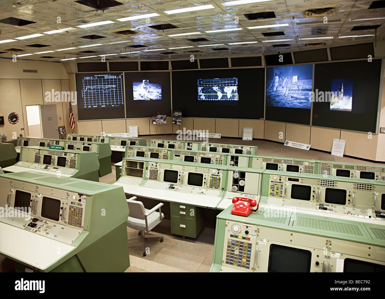 Apollo era mission control NASA Space Center Houston Texas USA - Stock Image