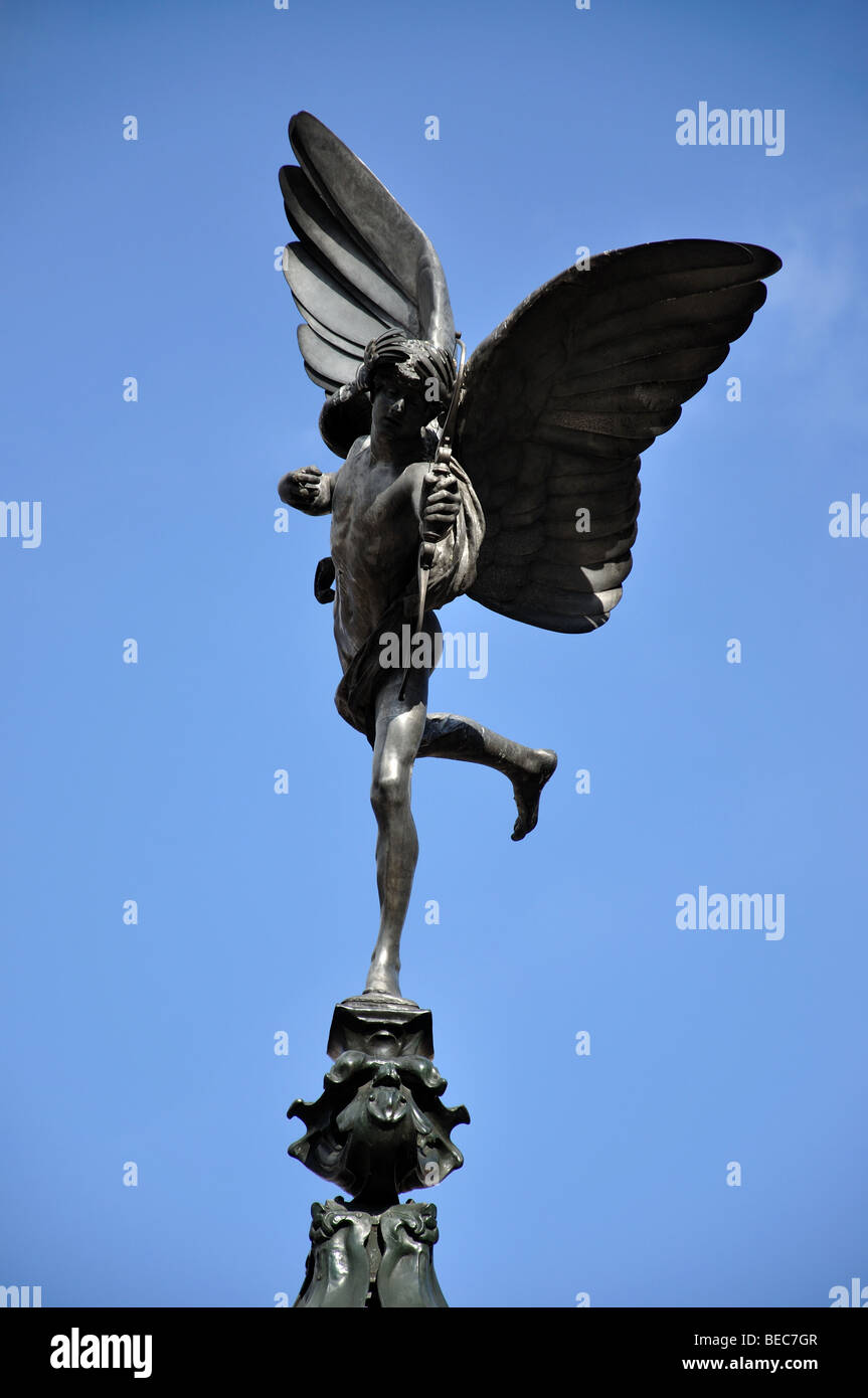 Statue of Anteros, Piccadilly Circus, City of Westminster, London, England, United Kingdom - Stock Image