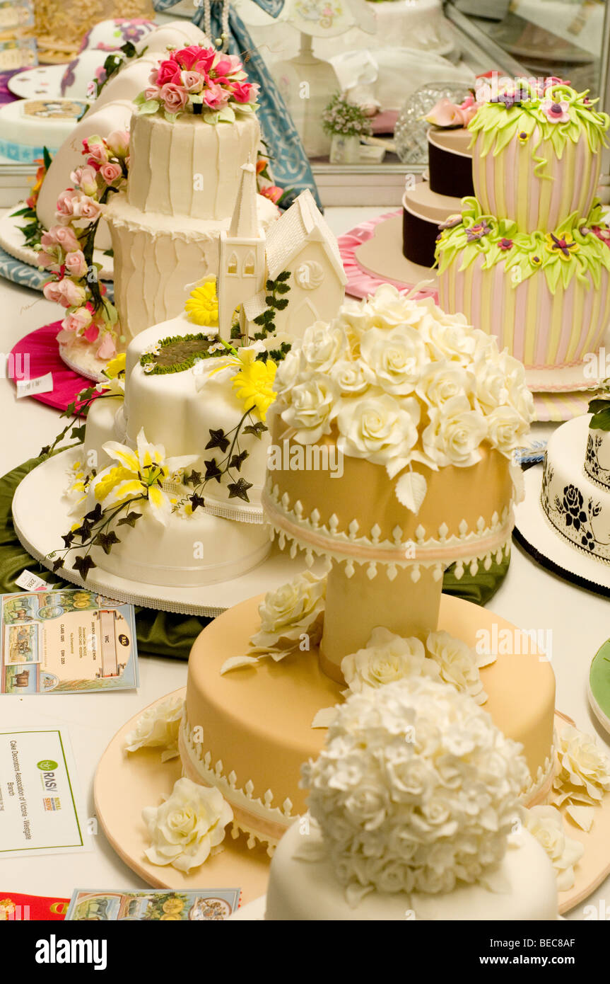 Cakes displayed at Royal Melbourne Show, Australia - Stock Image