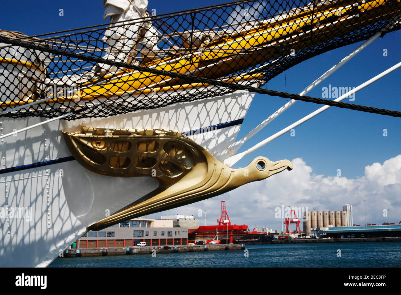 Bow of German tall ship Gorch Foch. - Stock Image