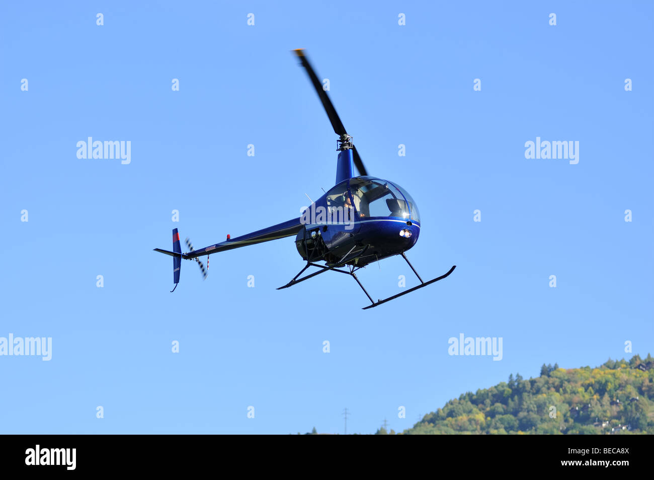 light two bladed utility helicopter Stock Photo