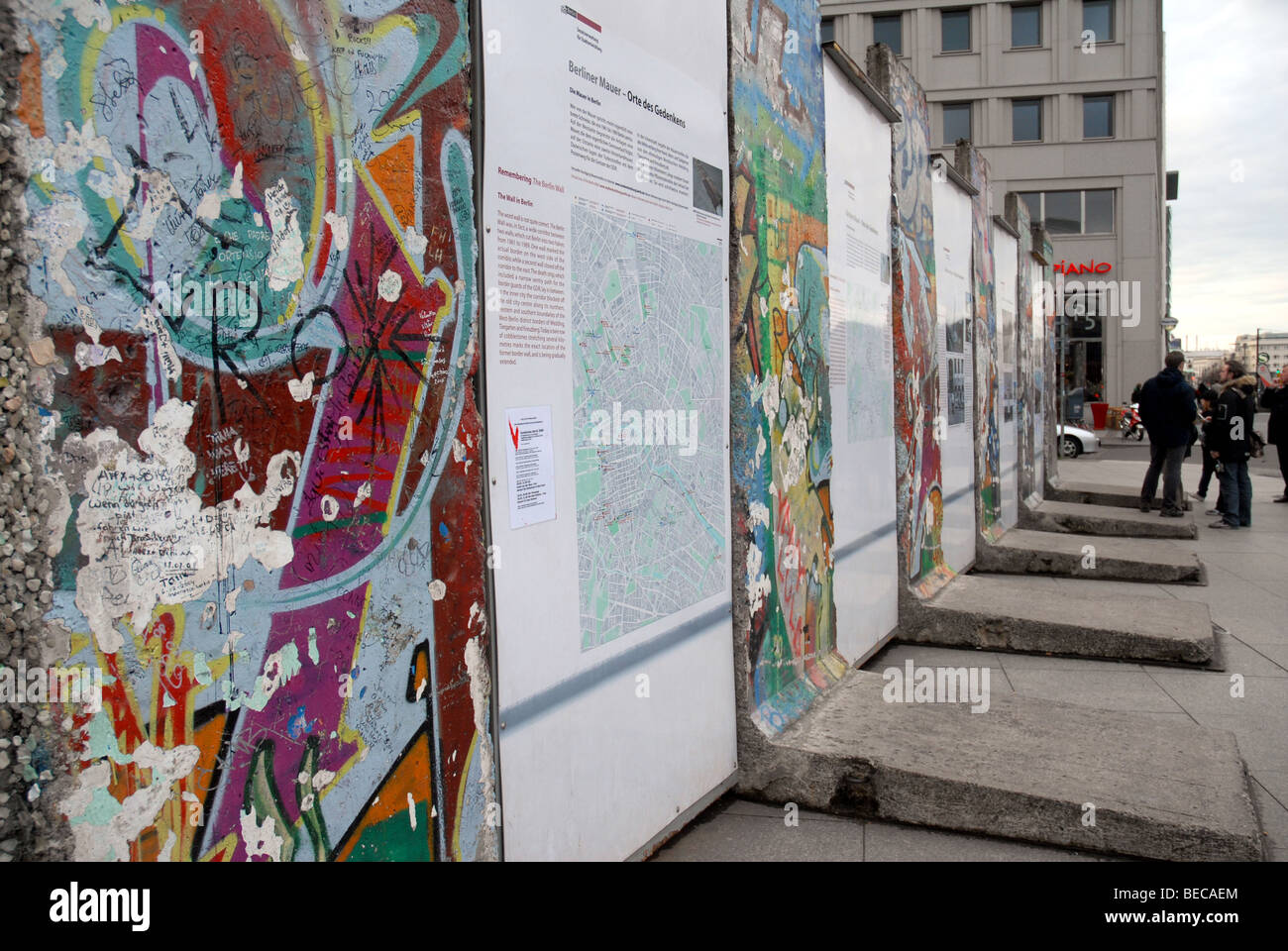 Exhibition at the Berlin Wall, Potsdamer Platz, Berlin, Germany. - Stock Image