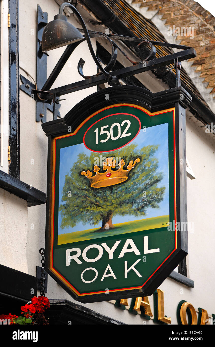 Pub sign, Royal Oak, Crown Street, St. Ives, Cambridgeshire, England, United Kingdom, Europe Stock Photo