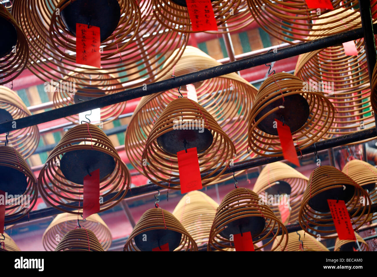 Interior view of the Man Mo Temple, Hong Kong, Hongkong, China, Asia - Stock Image