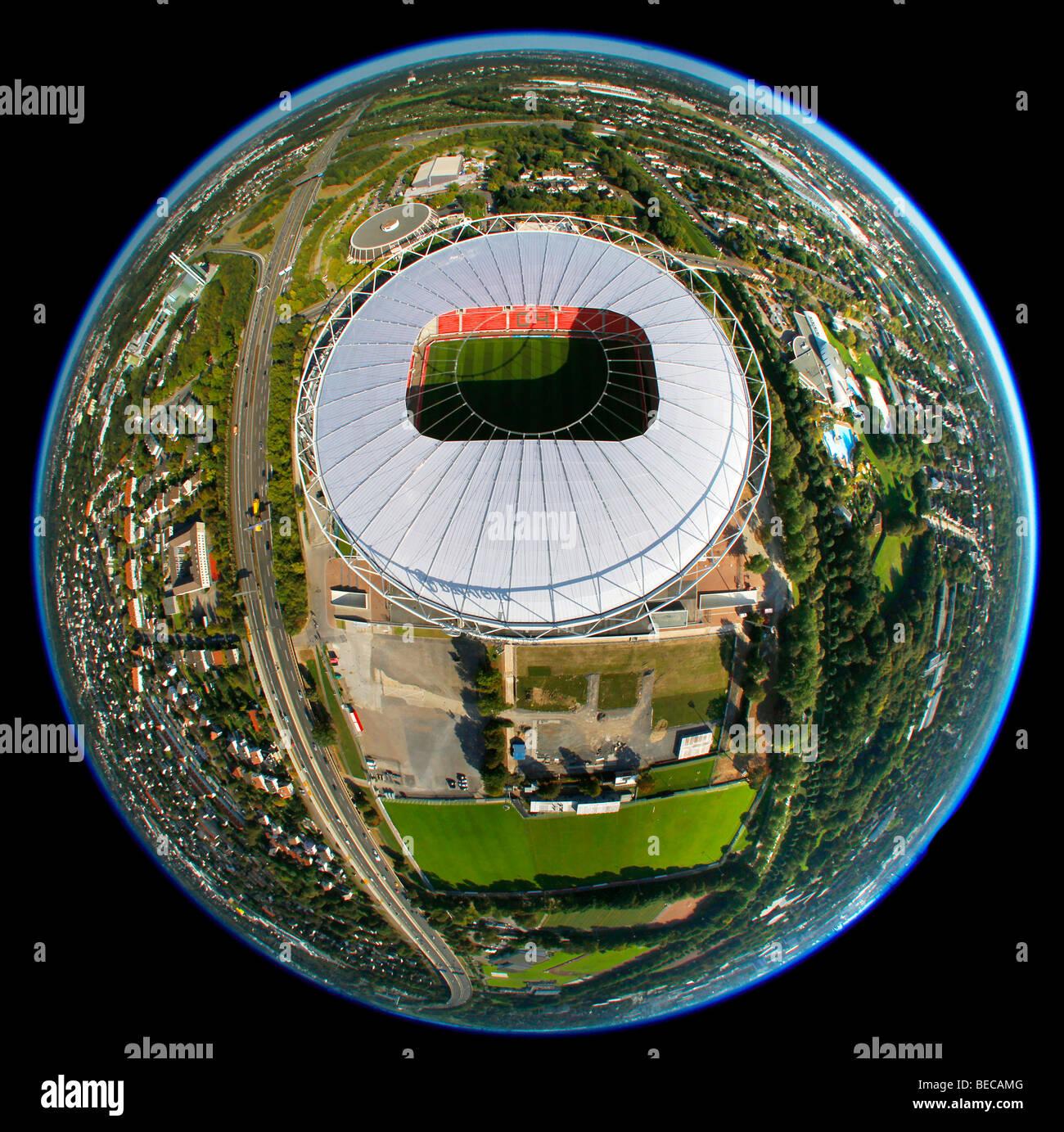 Aerial photo, BayArena Stadion stadium, fisheye, Leverkusen, North Rhine-Westphalia, Germany, Europe - Stock Image