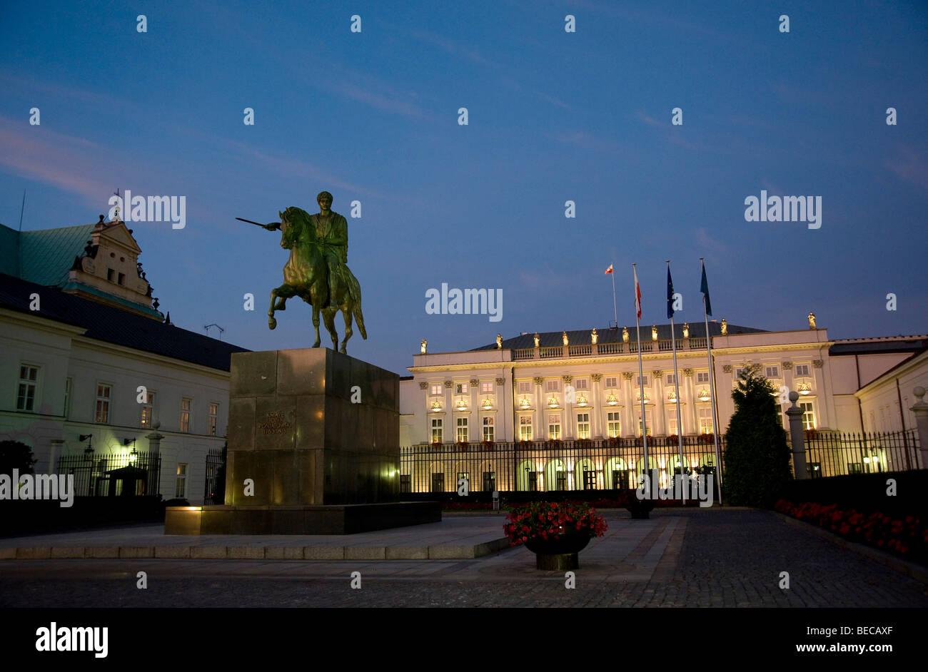 Radziwill Palace, Palac Radziwillowski, seat of the Polish President, Royal Route, Trakt Krolewski, Warsaw, Poland, - Stock Image