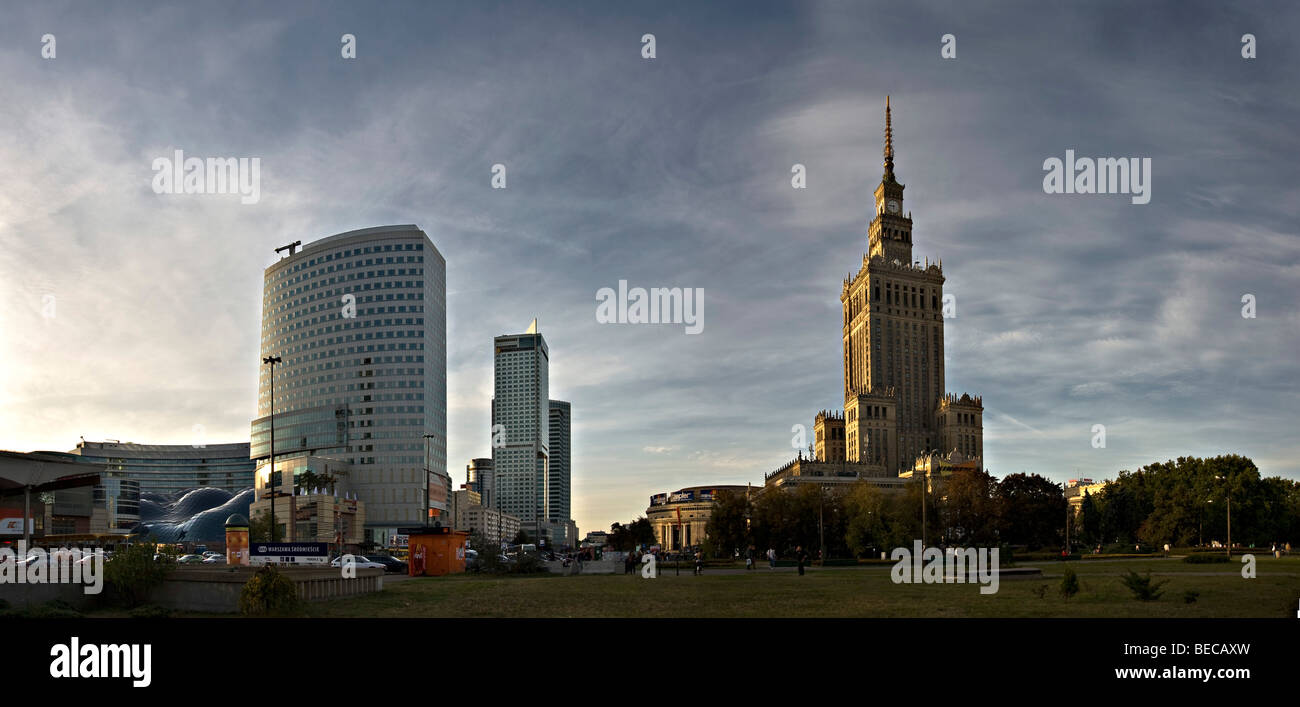 Skyscrapers and Culture Palace, Palac Kultury, in the center of Warsaw, Poland, Europe Stock Photo