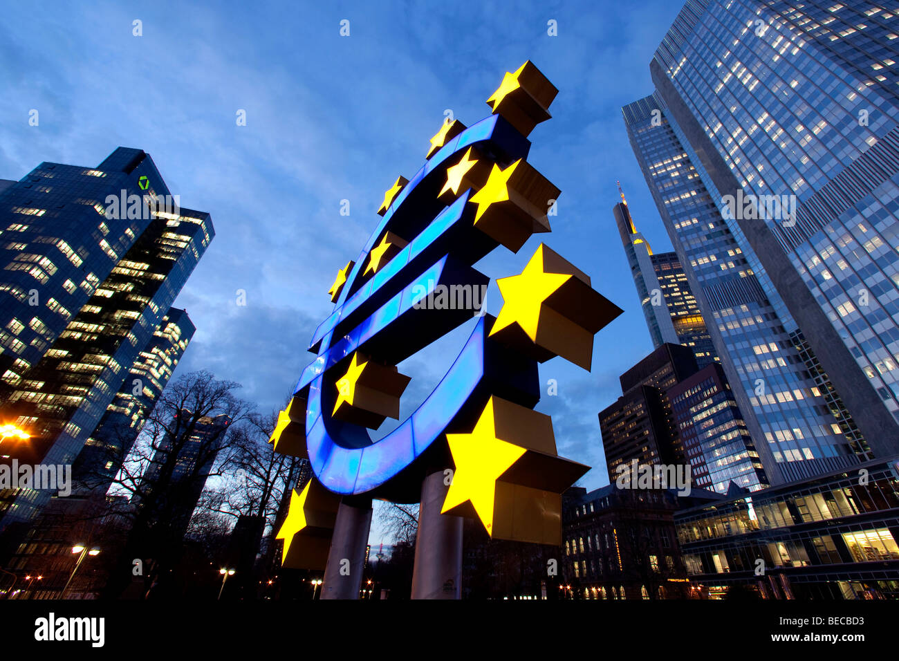 European Central Bank, right, with the euro symbol and Dresdner Bank, left, in Frankfurt am Main, Hesse, Germany, - Stock Image