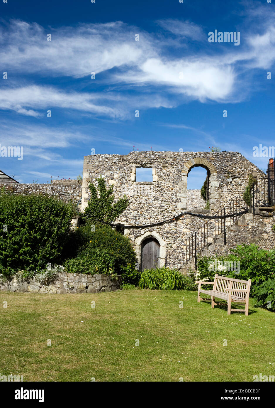 Garden next to the Norman Staircase at the King's School in Canterbury, Kent, UK. - Stock Image