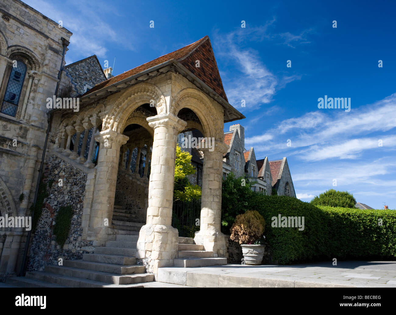 The Norman Staircase at the King's School in Canterbury, Kent, UK. - Stock Image
