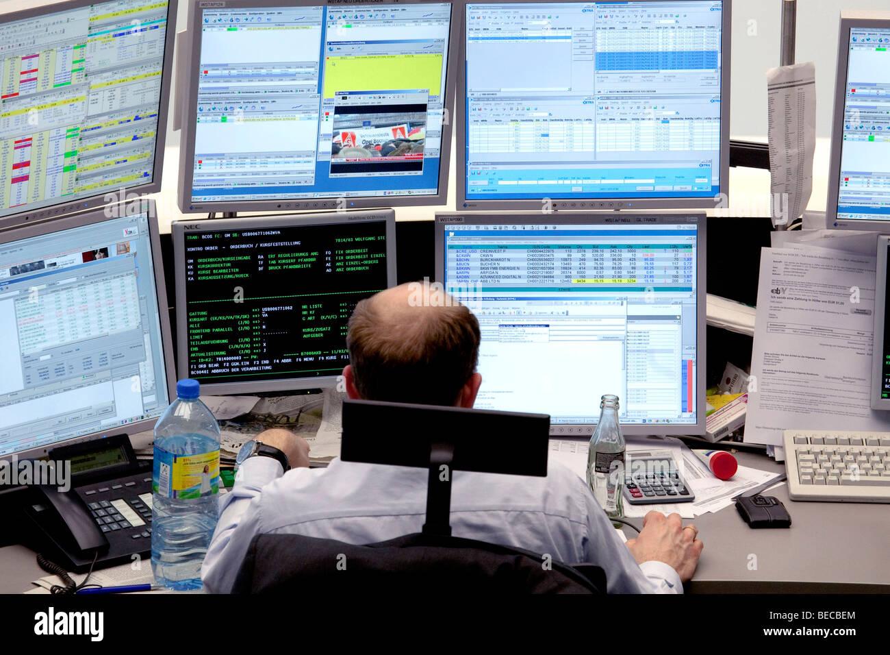 Main trading room of the Frankfurt Stock Exchange by Deutsche Boerse AG in Frankfurt am Main, Hesse, Germany, Europe - Stock Image