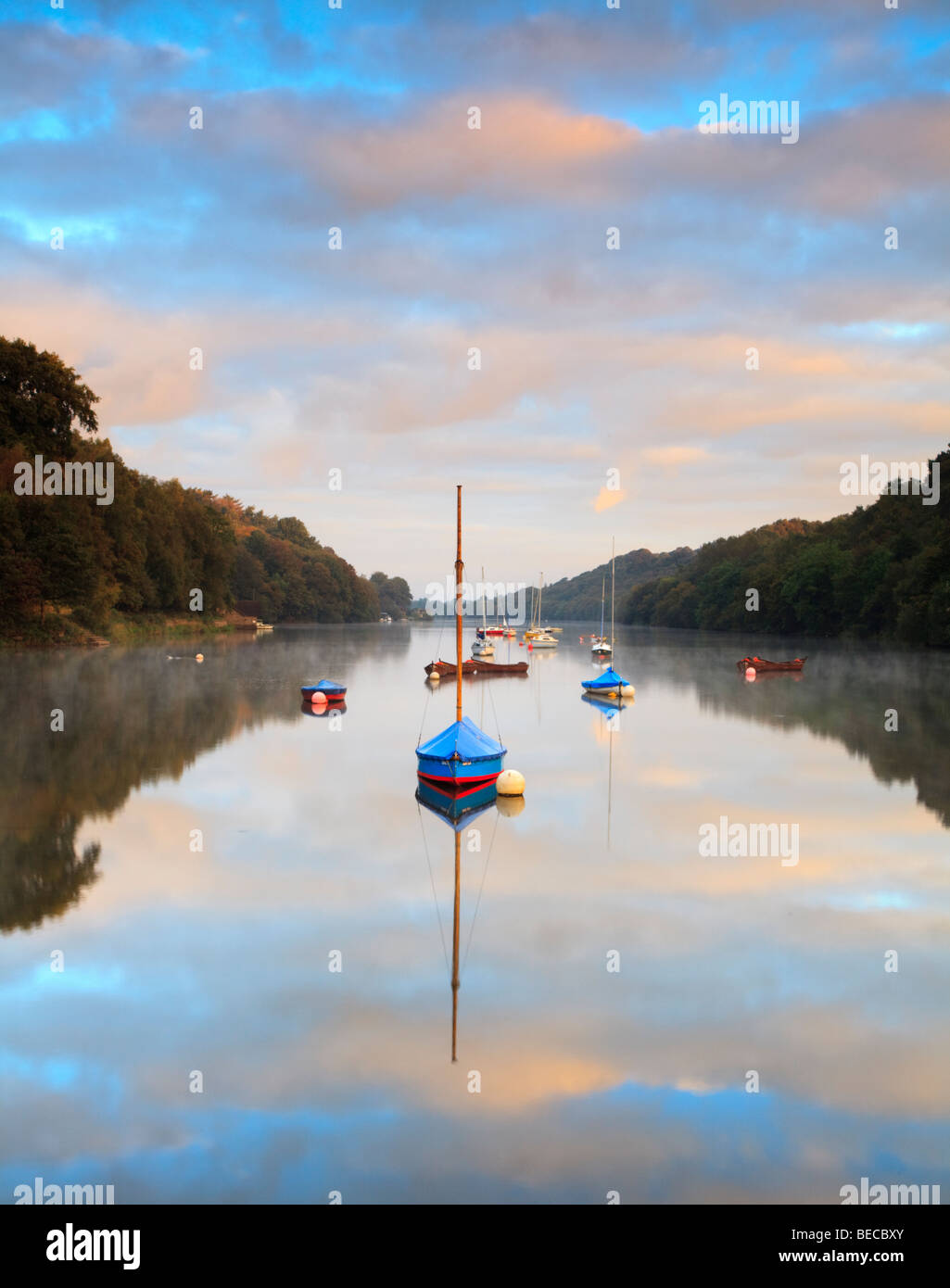 Sunrise over the tranquil lake in Rudyard, Nr. Leek, in Staffordshire - Stock Image