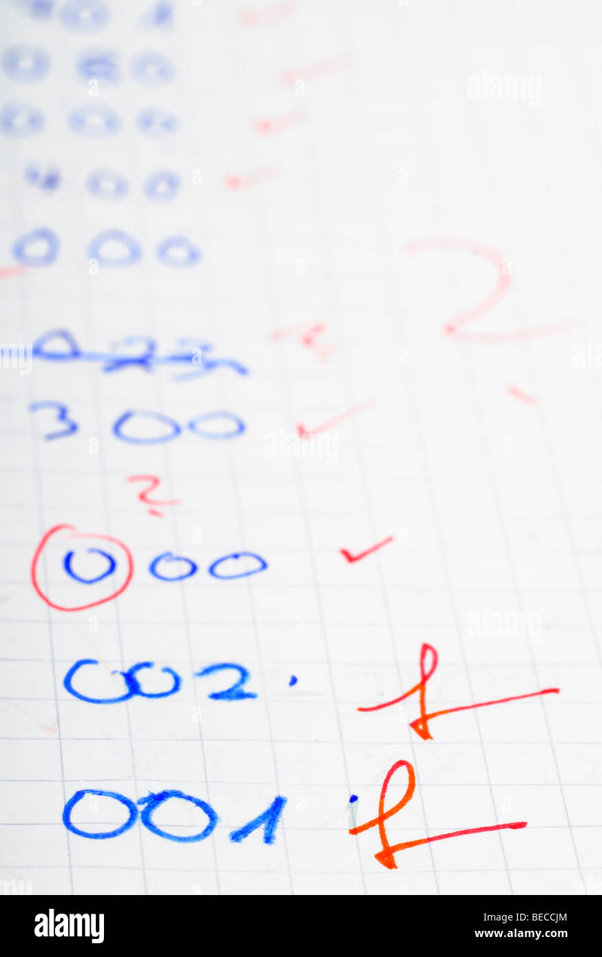 Wrongly solved geometry task of a Maths classroom test - Stock Image