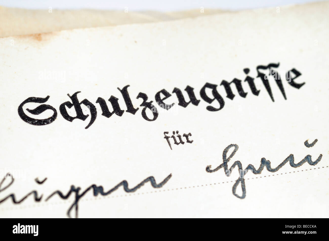 Old Schulzeugnis, German for school report card, detail - Stock Image