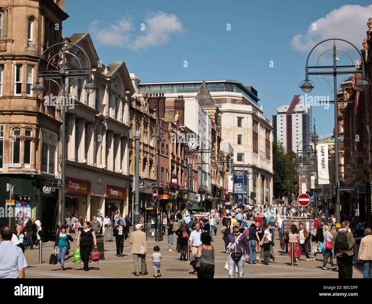 Briggate main shopping street in Leeds UK on summer day - Stock Image