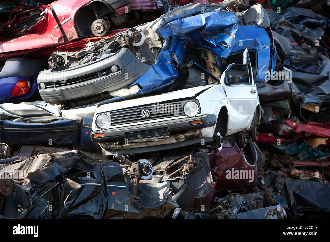 Old cars at a scrap yard - Stock Image