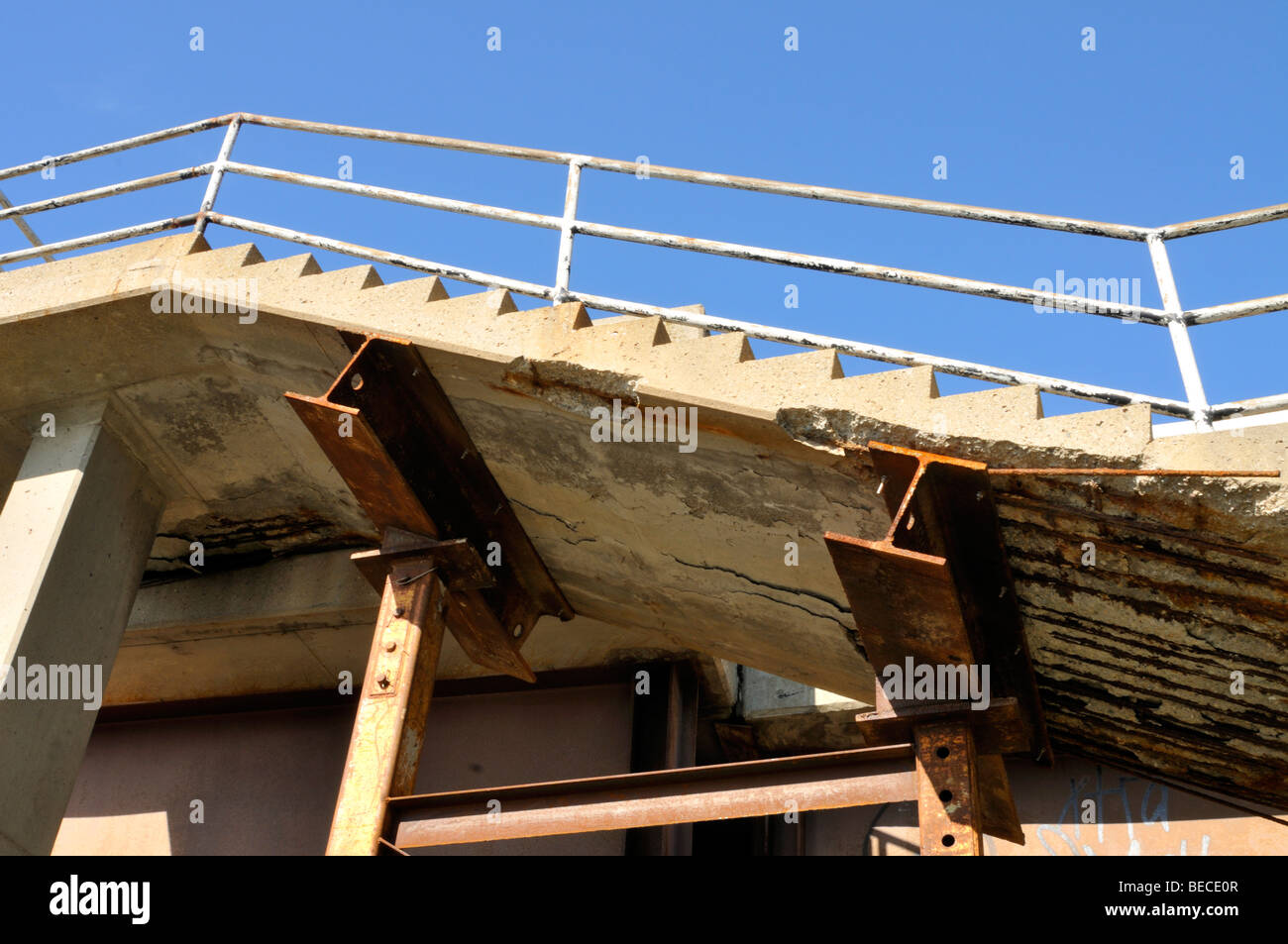 I-Beams supporting collapsing cement stairs - Stock Image
