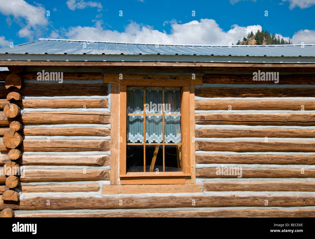 A log cabin has been turned into the Young Museum, showcasing 19th and 20th century mining industry in Red River, - Stock Image