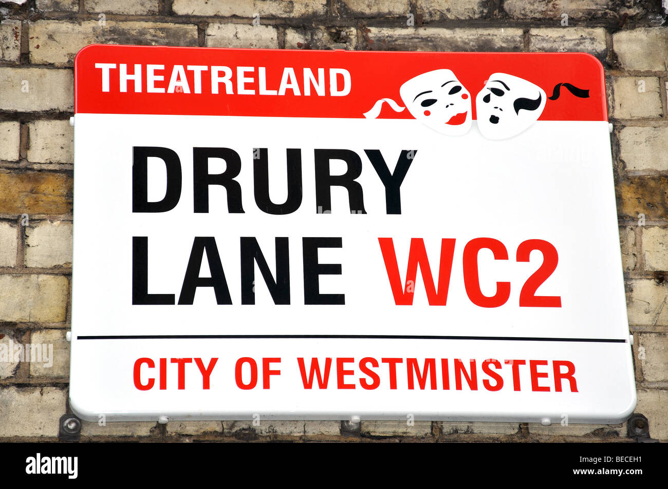 Drury Lane street sign, Covent Garden, City of Westminster, London, England, United Kingdom - Stock Image