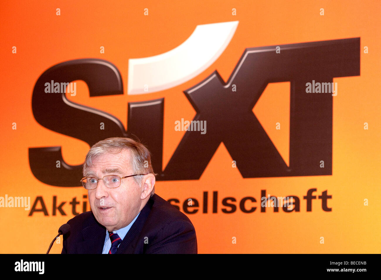 Erich Sixt, chief executive and main shareholder of the Sixt AG, during the press conference on financial statements, - Stock Image